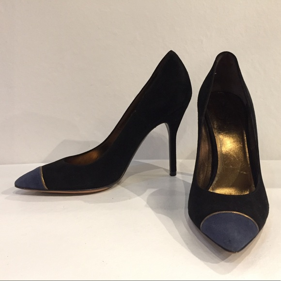 7eb9fe37e Yves Saint Laurent Shoes | Authentic Ysl Blue And Black Suede Pumps ...